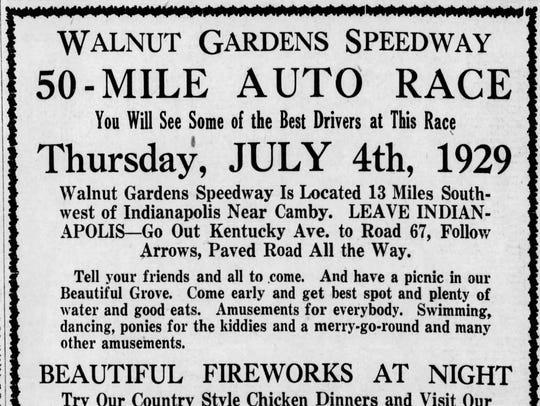 Walnut Gardens Speedway was part of the southwestside resort