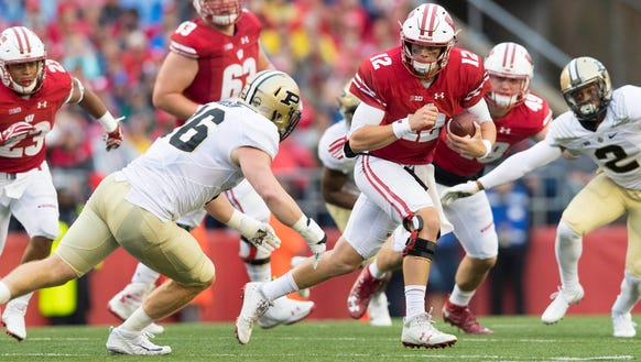 Oct 14, 2017; Madison, WI, USA; Wisconsin Badgers quarterback