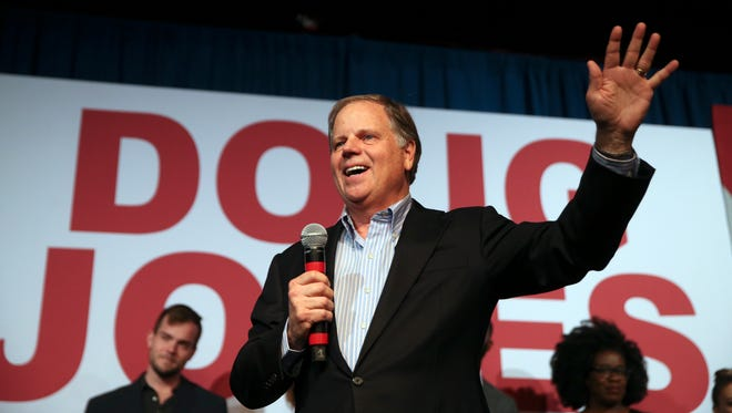 Doug Jones, Democratic candidate for U.S. Senate in Alabama, speaks Dec. 11, 2017, to supporters during a rally in Birmingham.