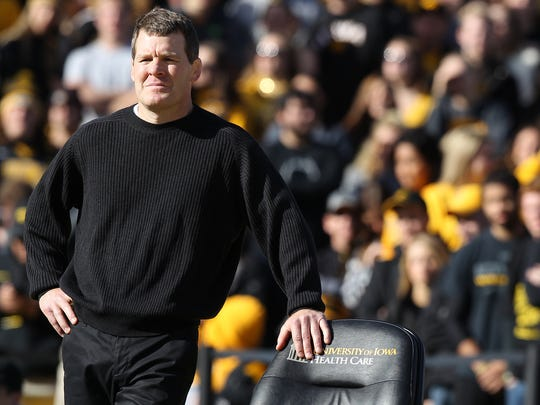 Iowa head coach Tom Brands watches during the outdoor dual at Kinnick Stadium on Nov. 14, 2015. Brands is trying to set the stage for a program comeback, and adding Mark Perry with the Hawkeye Wrestling Club is a good move.