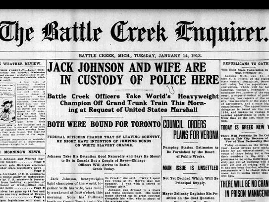The January 14, 1913 edition of The Battle Creek Enquirer.