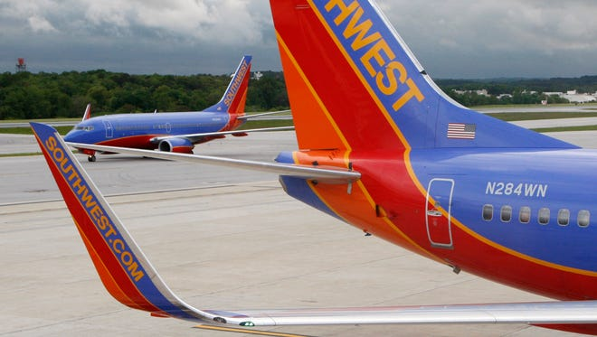 Southwest Airlines jets are seen at Baltimore Washington International Airport on May 16, 2008.