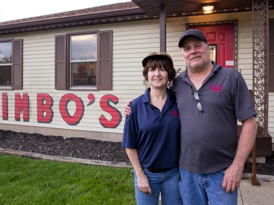 "Robin Crose (left), with her boyfriend Jim ""Jimbo"" Albeck at Jimbo's BBQ, one of two in Clermont, Wednesday, April 26, 2017."