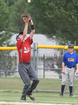 Mountain Home MacLeod first baseman Jake Hutson catches a pop fly against Harrison on Tuesday at Cooper Park.