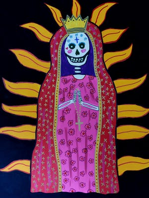A painting by Lee Spruell of Our Lady of Guadalupe for the Day of the Dead celebration in Shreveport's Columbia Park.