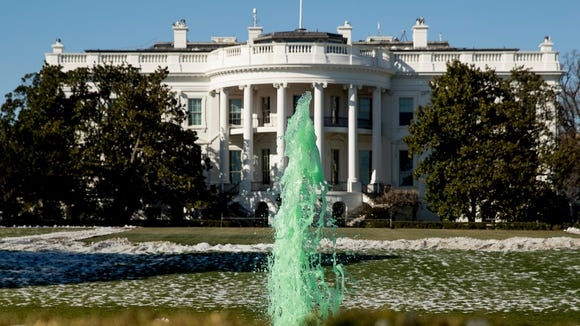 The fountain on the South Lawn at the White House is