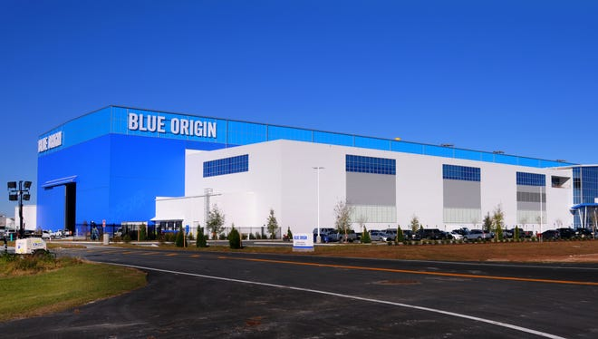Blue Origin's New Glenn rocket factory at KSC's Exploration Park as seen on Wednesday, Dec. 13, 2017.