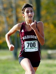 Madison freshman Jamie Habib comes in for a third-place