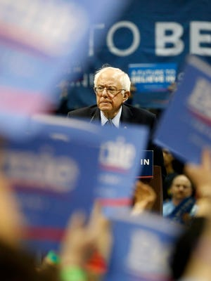 Bernie Sanders speaks during his campaign rally on Saturday, Mar. 12, 2016 at JQH Arena in Springfield.