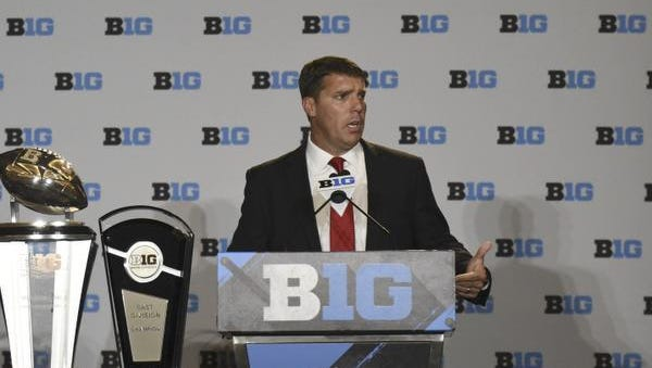 Rutgers football head coach Chris Ash addresses the media during the Big Ten football media day at the Hyatt Regency in Chicago in July.