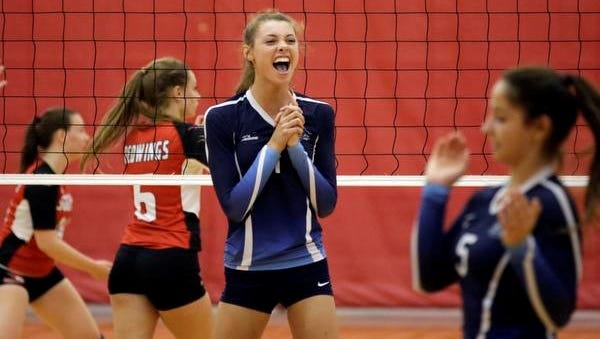 Bay Port's Sindi Walgurski (1) reacts to a point against Sheboygan South on Thursday in Sheboygan.