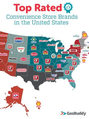 GasBuddy released the results of the highest rated gas station convenience store brands in all 50 U.S. states.