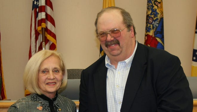 Freeholder Director Patricia Walsh presents the National Agriculture Day proclamation to SCADB President Mark Kirby.