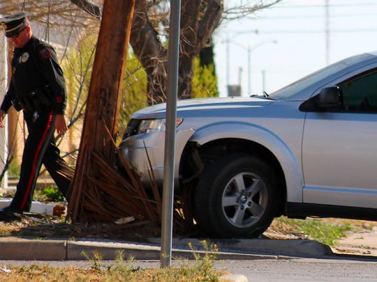 Police continue their search for an Alamogordo man wanted on numerous warrants for his arrest after the man crashed a 2010 Dodge Journey into a utility pole at 14th Street and Cuba Avenue Monday afternoon. Alamogordo Police Department officers had stopped their pursuit of the man then he crashed into the pole. He fled on foot from the accident.