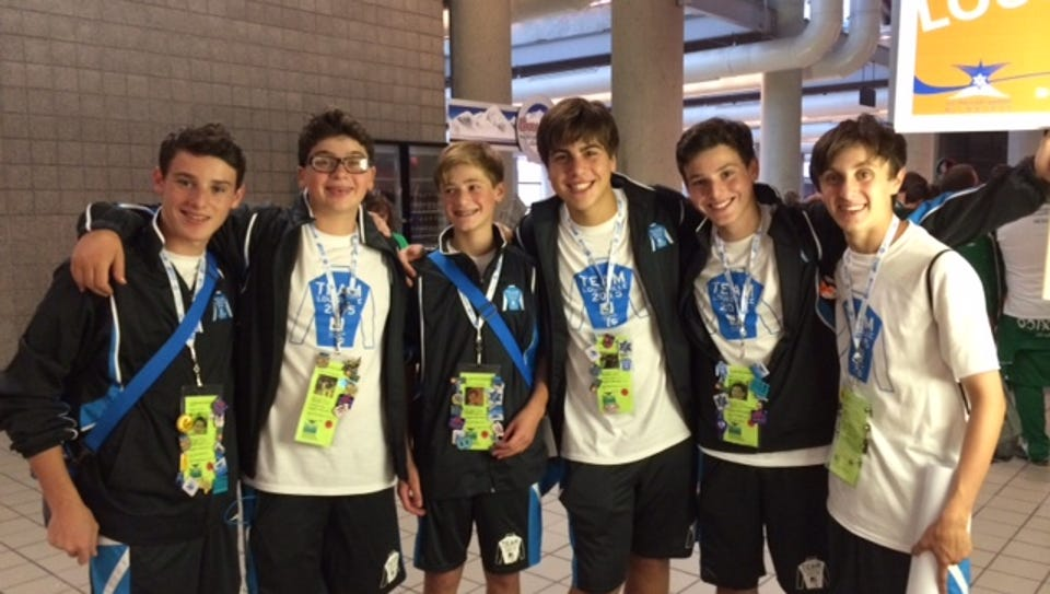 Athletes, from left, Levi Wolff, Ethan Grossman, Zev