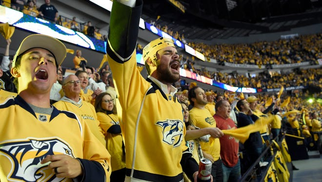 Predators fans cheer during the second period of Game 6 of the Western Conference finals at Bridgestone Arena on Monday, May 22, 2017.