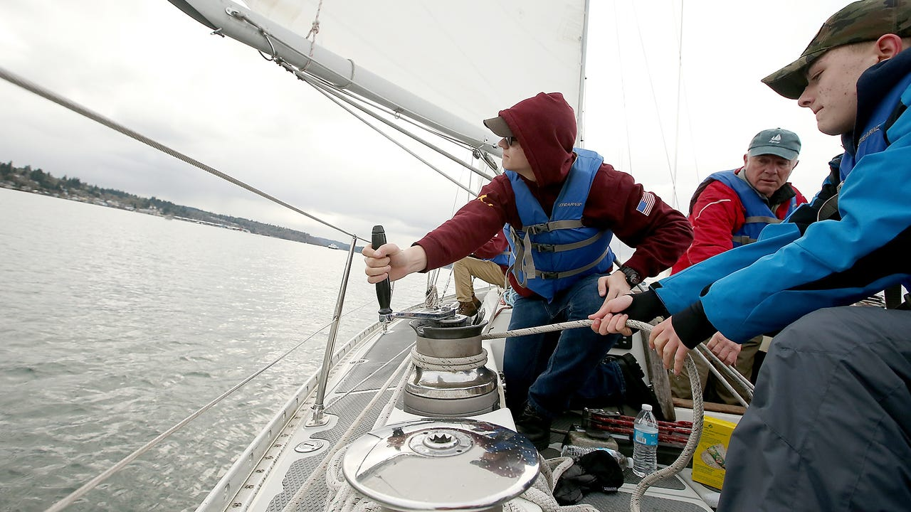 Cadets in South Kitsap High School's NJROTC program learn to sail aboard the Lively, a 44-foot former Navy training sloop.