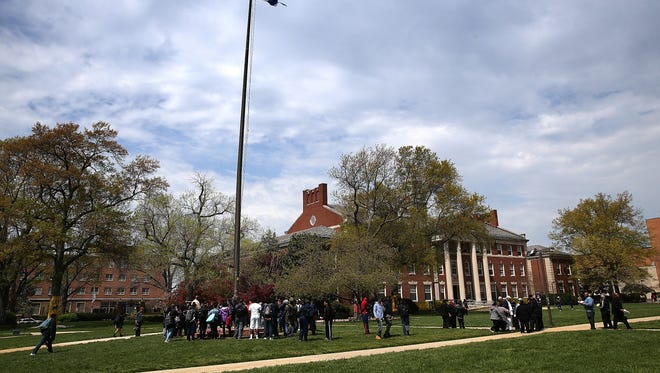 Students and members of the administration at Howard University hold a rally against sexual assault on the campus April 11, 2016, in Washington, D.C. The rally was held as part of Sexual Assault Awareness Month.