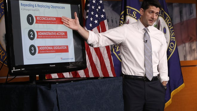 Speaker of the House Paul Ryan (R-Wisc.) explains the Republican plan to replace the Affordable Care Act during his weekly press conference at the U.S. Capitol March 9, 2017 in Washington, D.C.