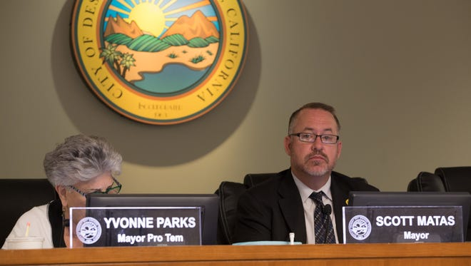 Desert Hot Springs Mayor Scott Matas and Council member Yvonne Parks at a previous meeting.
