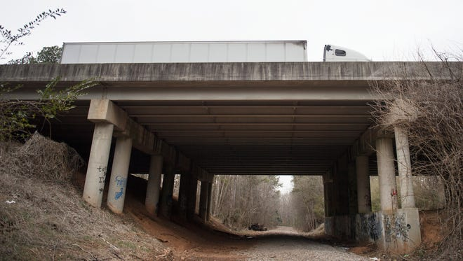 A truck on Interstate 85 goes over a bridge that was classified as structurally deficient by the Federal Highway Administration on Thursday, February 1, 2018.