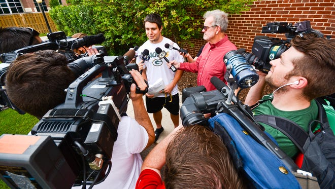 Green Bay Packers linebacker Blake Martinez speaks with reporters in July of 2016 outside Victor McCormick Hall at St. Norbert College, where he, along with other team members, stay during their summer training camp.