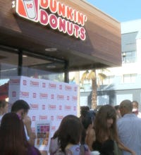 In this special edition of America's Markets USA Today's Matt Krantz attends the opening of LA's first Dunkin' Donuts store in decades and sees how it will size up againt coffee giant Starbucks.