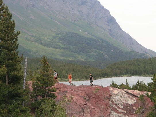 The hike to Red Rock Falls starts from Swiftcurrent