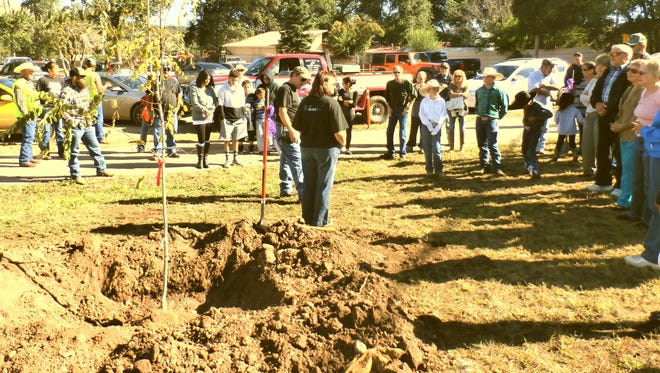 """Benny Sanchez, of the Public Works Street Department, and Ellen """"Buzz"""" Bizzell-Blaney, chairman of the Keep Ruidoso Downs Beautiful committee, who recently passed away were honored with the planting and dedication of two purple locust trees in the park."""