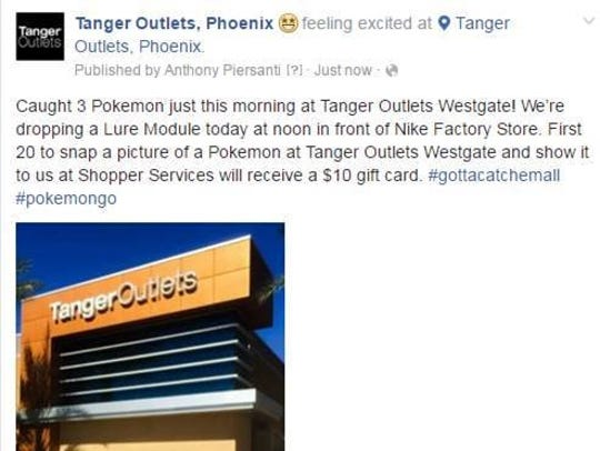 Phoenix/Glendale Tanger Outlets has a special for Pokemon