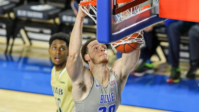 MTSU forward Reggie Upshaw (30) scored a career-high 30 points in the Conference USA opener against UAB on Sunday at the Murphy Center.