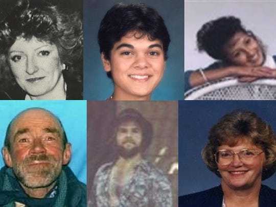 The faces of some of the victims in cold-case deaths in Larimer County, clockwise from top left: Peggy Hettrick, Renee Bina Munshi, Jessica Arredondo, Mary Loud Vickerman, Steven Kirk, and John Robert Miller.