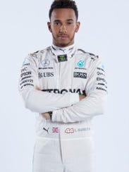 Formula One driver Lewis Hamilton leads the Mercedes