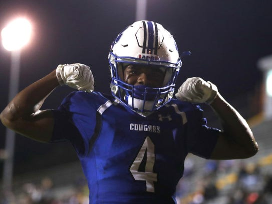 Godby's Tyler Pye celebrates his touchdown catch against