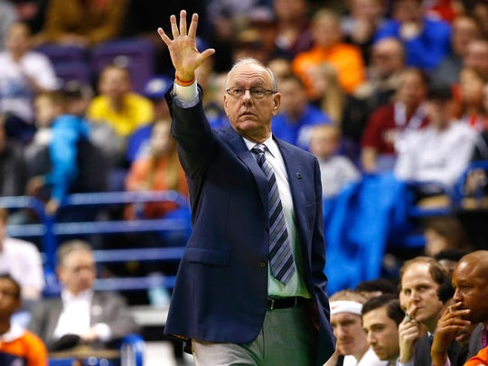 Head coach Jim Boeheim of the Syracuse Orange looks on in the first half against the Middle Tennessee Blue Raiders.