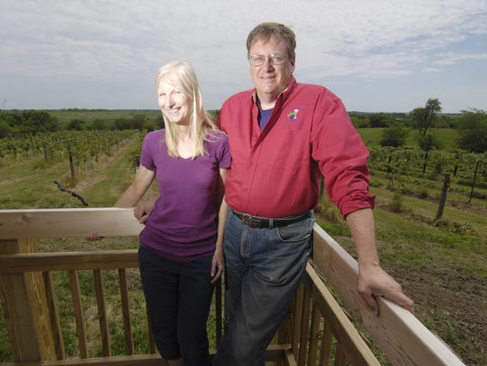 Annelise Winery owners Heidi and David Klodd pose on