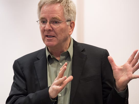 """Rick Steves, famed travel author and host of the PBS series """"Rick Steves' Europe,"""" speaks during a press conference in advance of an Adult Use Marijuana Task Force hearing at Legislative Hall in Dover."""