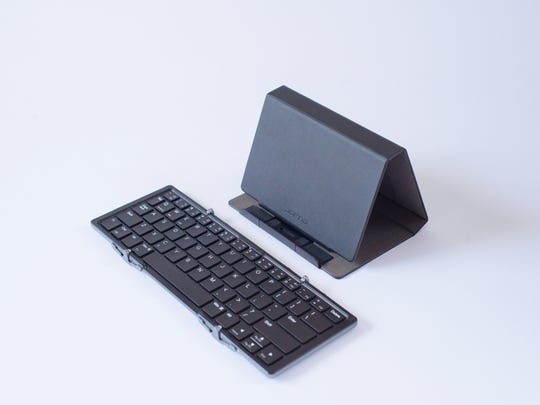 Small enough to tuck in a small bag, the tri-folding The Jorno Bluetooth Keyboard can connect with your device via a wireless Bluetooth connection.