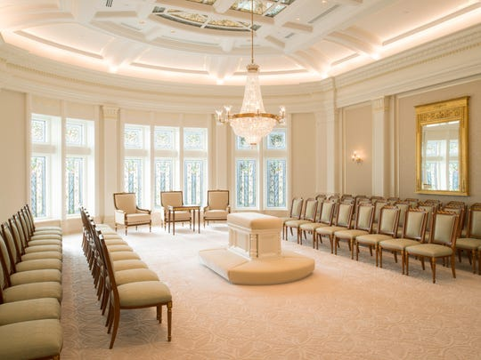 Sealing rooms, like this one in the Payson, Utah Temple, are where members of The Church of Jesus Christ of Latter-day Saints are married, or sealed, for eternity.