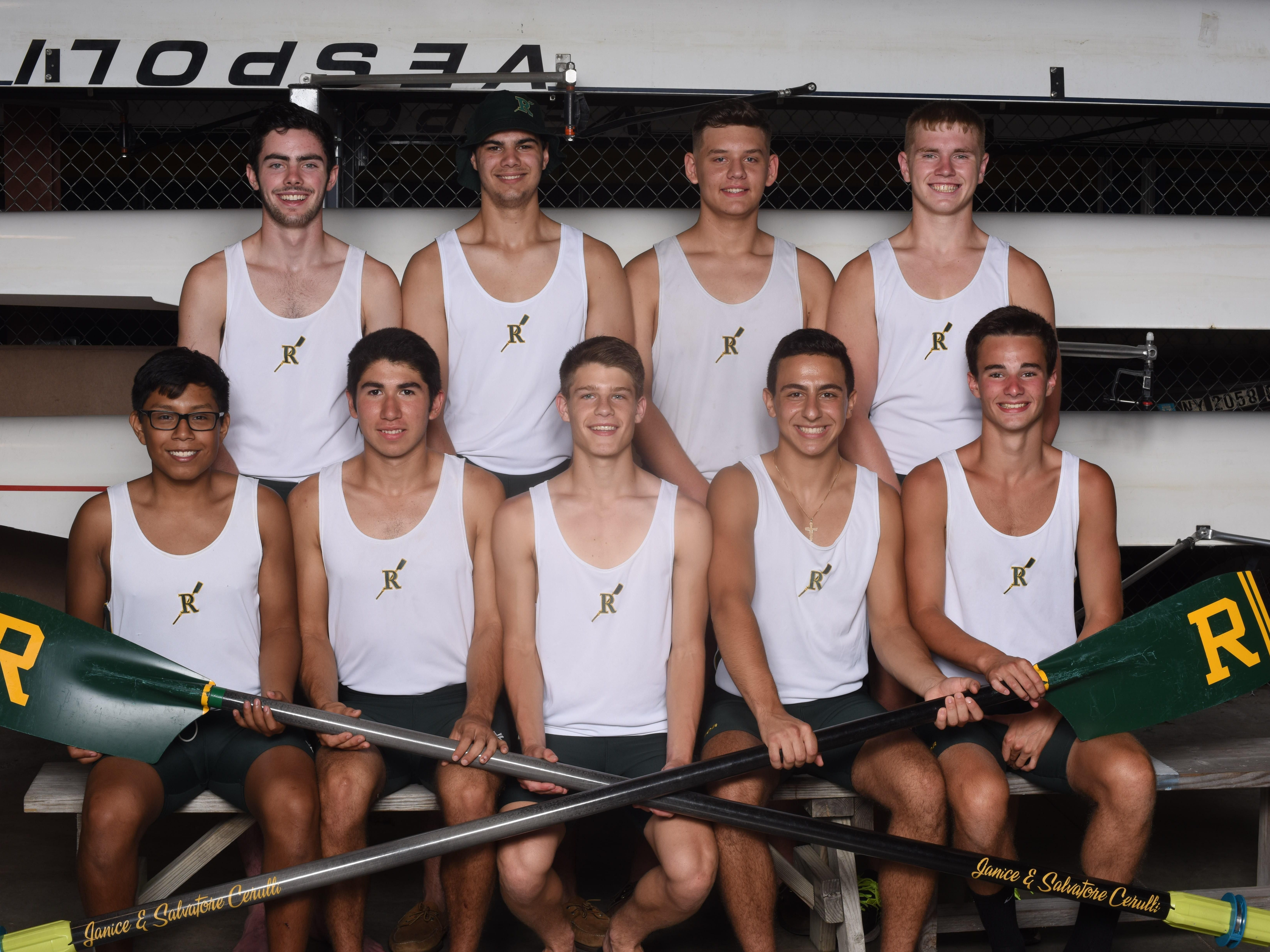 The Franklin D. Roosevelt High School boys varsity 8 boat members, back row from left, eight seat Garrett Burnett, seven seat Schuyler Will, five seat Chris Gannon, six seat Nick Senchak, front row from left, bow Enrique Silva, two seat Brandon Leyva, coxswain Zack Schiffer, three seat Alex Psichas, and four seat Robert Hoffman at the Hudson River Rowing Association boat house in Poughkeepsie on Thursday.
