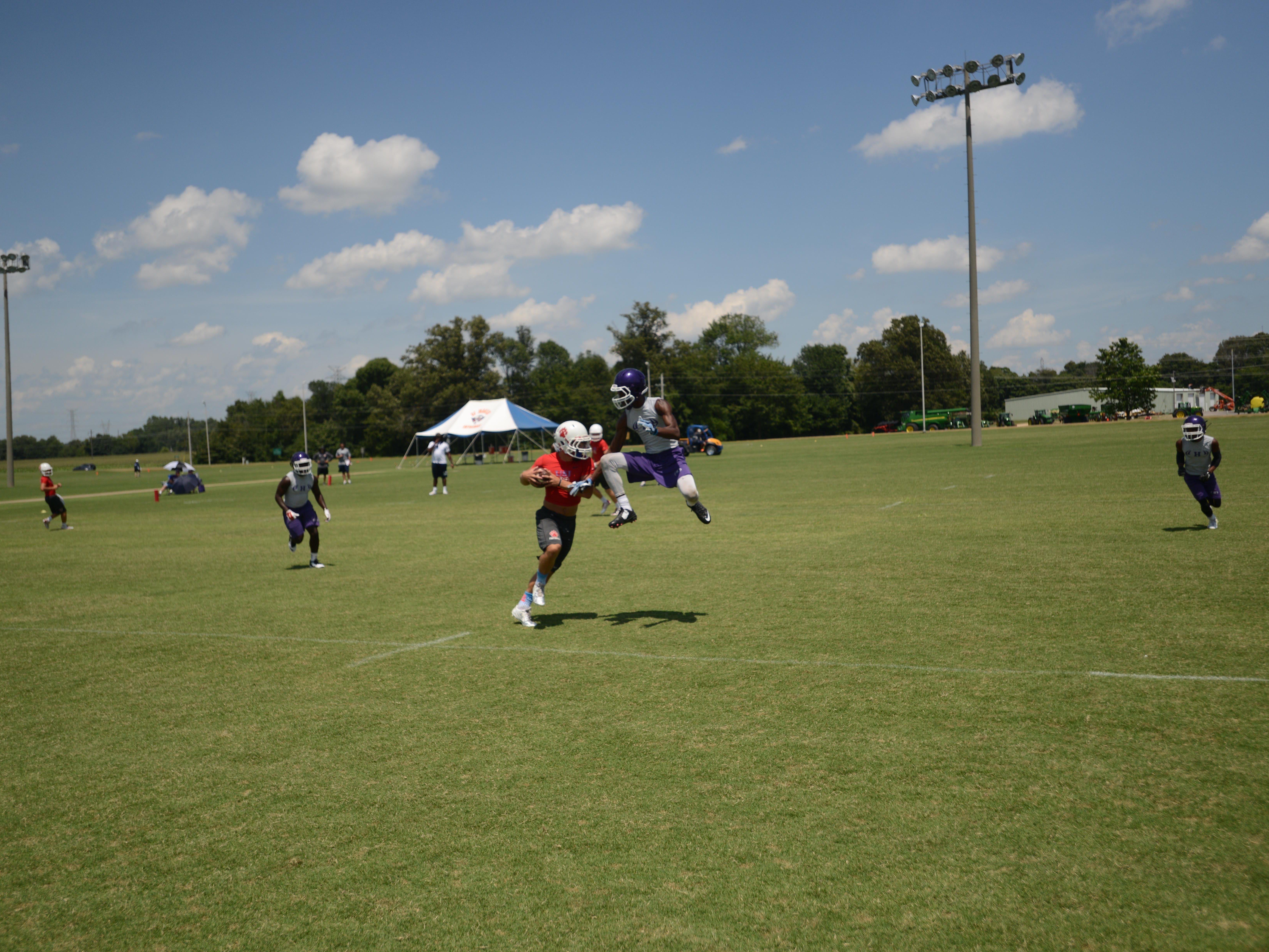 University School School of Jackson and Haywood met in the quarterfinals of the 7-on-7 tournament in Martin on Saturday.