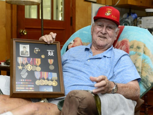 Maj. Winston Fontaine recalls his service in the Marine Corps. during World War II.
