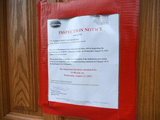 An notice informed tenants at a Colchester Avenue apartment that city housing inspectors would come by for an inspection Wednesday.