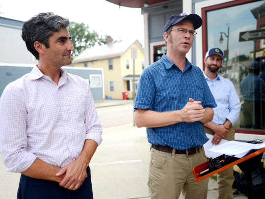 Mayor Miro Weinberger, left, and Department of Public Works Director Chapin Spencer in Burlington on Sept. 8, 2015.