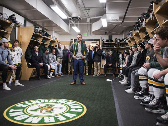 Martin St. Louis talks to members of the University of Vermont hockey team prior to Friday's game.