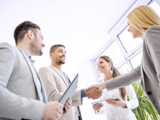 Handshake between two business executives
