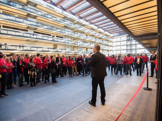 Colin Day Chairman and CEO of iCims addresses employees at the Bell Works building in Holmdel. They will be the anchor tenant in space. . Photo/James J. Connolly correspondent
