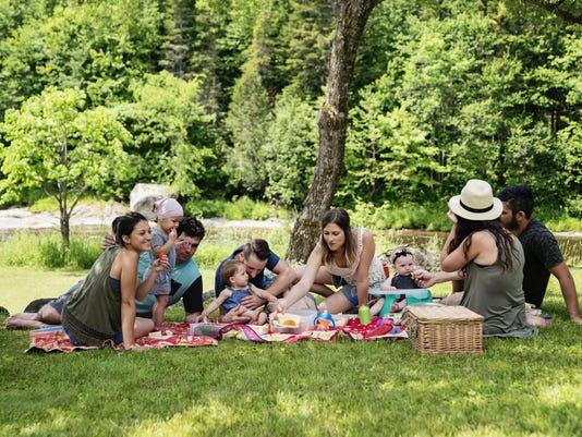 Millennials families having a picnic outdoors in summer.