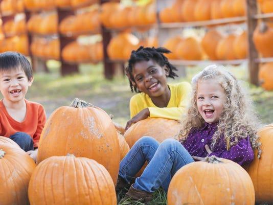 Three multi-ethnic children with lots of pumpkins