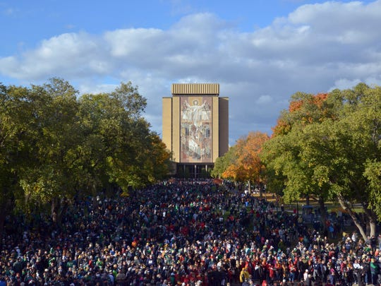 The Touchdown Jesus mural on the facade of the Hesburgh Library on the campus of Notre Dame.